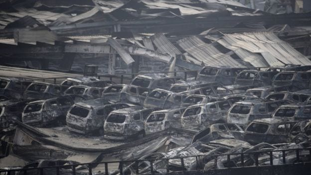 Tianjin explosion bunt cars