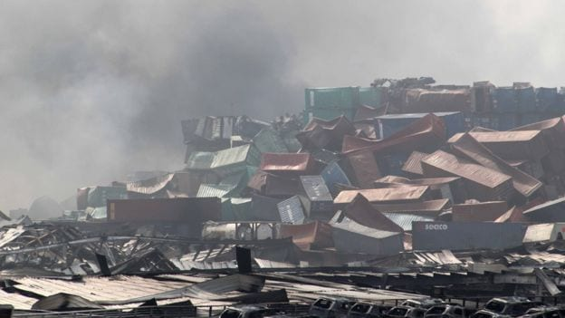 Tianjin blast photos containers
