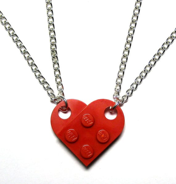 BFF heart necklace set
