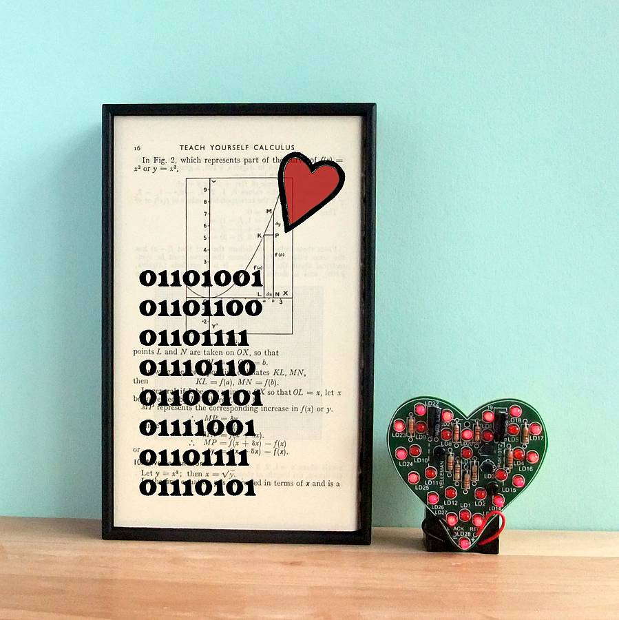 Binary I Love You Print